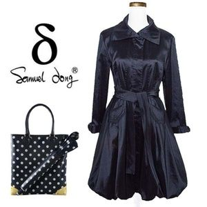 SAMUEL DONG Bubble Hem Trench Black Dress Coat S